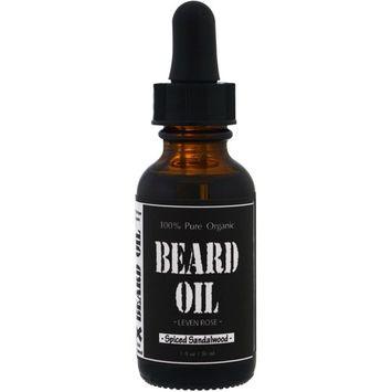 Leven Rose, 100% Pure Organic Beard Oil, Spiced Sandalwood, 1 fl oz (30 ml)