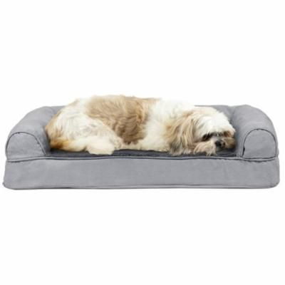 FurHaven Pet Dog Bed | Cooling Gel Memory Foam Orthopedic Ultra-Plush Sofa-Style Couch Pet Bed for Dogs & Cats, Gray, Medium
