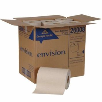 Georgia-Pacific Envision Brown Hardwound Roll Paper Towel 7.875 Inch X 800 Foot, 1 Ply, Case of 6, 6 Pack