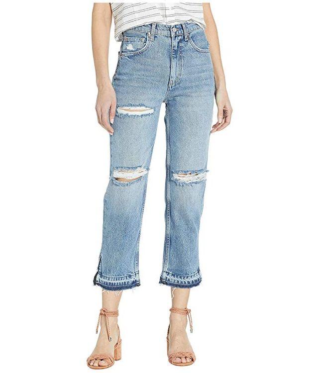 Women's Free People Lita Ripped Straight Leg Jeans, Size 27 - Blue