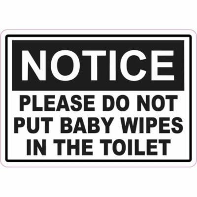 5in x 3.5in Notice Please Do Not Put Baby Wipes in the Toilet Magnet