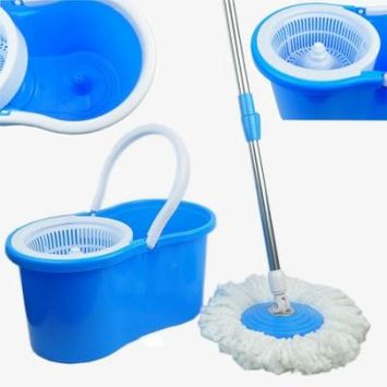 Zimtown Microfiber Spining Magic Spin Mop W/bucket 2 Heads Rotating 360° Easy Floor Mop