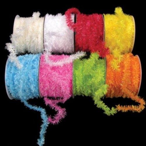 "Sassy Hot Pink Fuzzy Boa Wired Polyester & Nylon Decorative Ribbon .75"" x 55 Yards"