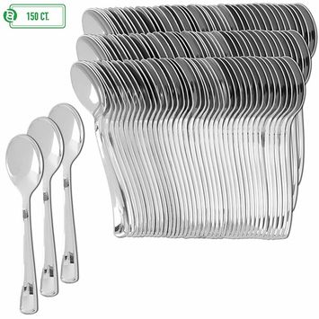 Plastic Silverware | Heavy Duty & Solid Cutlery Disposable Utensils Set | Perfect for Weddings, Buffets, Luncheon, Birthdays, More | Pack of 150 Spoons [150]