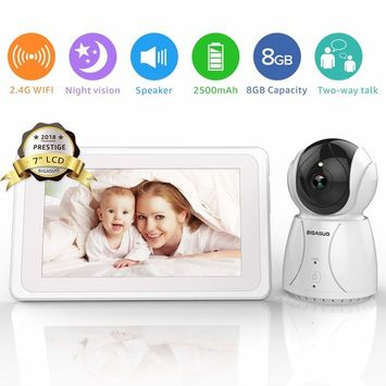 Video Baby Monitor, 7-inch Large Color LCD Screen, Baby Monitor with Camera Pan-Tilt-Zoom, Infrared Night Vision, Two Way Audio, Temperature Monitoring, 5 Lullaby, Includes 1 Wall Mount Kit