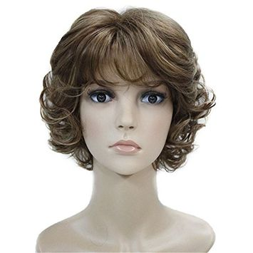 Aimole Synthetic Wigs Women's Curly Ends Short Fiber Wig With Layered Bangs(V6)
