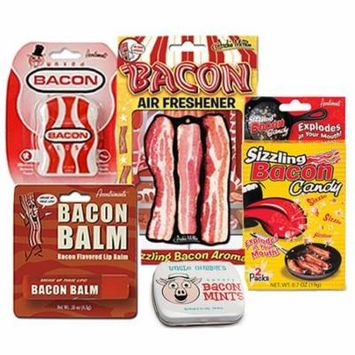Bacon Addicts Survival Kit Gift Pack (5pc Set) - Bacon Dental Floss, Lip Balm, Mints, Air Freshener & Sizzling Bacon Rock Candy
