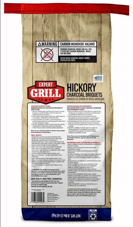 Expert Grill Hickory Charcoal Briquets, Charcoal Briquettes, 8 Lb