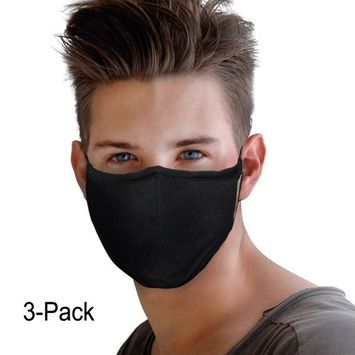 Pack of 3 PM 2.5 Gauze Mask for Women&Men, Adjustable Earloop Washable Cotton Masks Activated Carbon Filter Mouth Mask Exo Anti Dust Allergy Flu Germs Sanitary Mask Protective Respirator Mask
