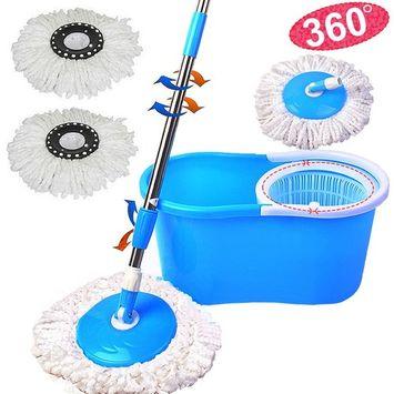 Zimtown Microfiber Spining Magic Mop W/bucket 2 Heads Rotating 360° Easy Floor Mop purple-4 Color
