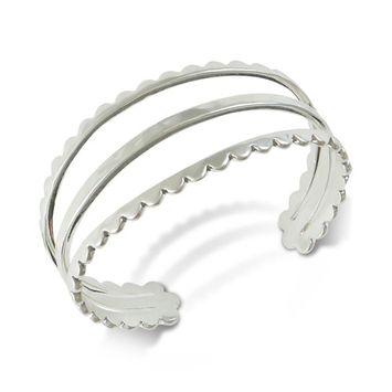 Silver-Tone Scallop Three-Row Cuff Bracelet