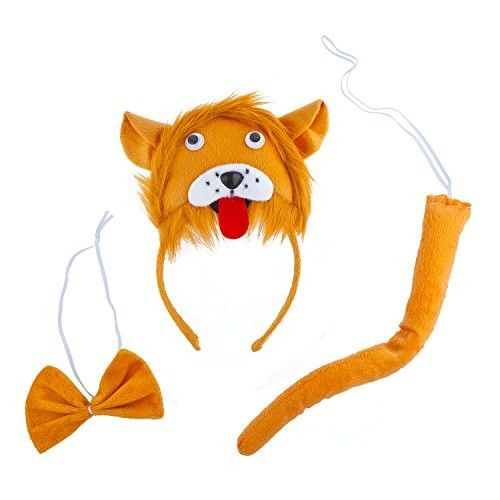 Lux Accessories Orange Lion Head Red Tongue Out Bowtie Tail Costume Dressup