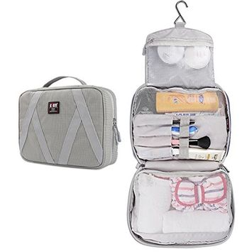 BUBM Travel Toiletry Bag, Hanging Toiletry Cosmetic Bag, Travel Toiletry Organizer for Men and Women, Gray