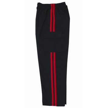 7 oz Black Middleweight Cargo Pants with Red Stripes by B