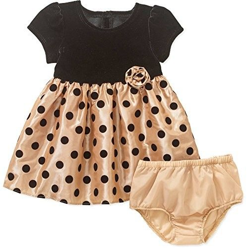 George Newborn Baby Girl Jacquard Ballerina Holiday or Polka Dot Flocked Special Occasion Dress Set (18 Month, Tuscan Gold)