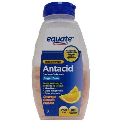 Equate Extra Strength Sugar Free Orange Cream Flavor Antacid, 90 count