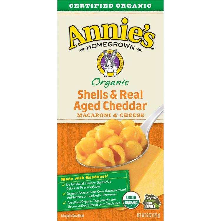 Annie's Macaroni and Cheese, Shells & Aged Cheddar Mac and Cheese, 6 oz Box