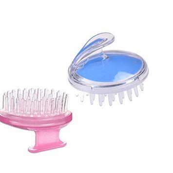 CosCosX 2 Pcs Shampoo Scalp Head Shower Massage Massager Cleaning Clean Scrub Silicone Washing Hair Brush
