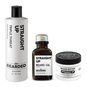 Beard Kit - True Beardsman (Beard Oil, Beard Butter, and Beard Wash) Cleans, Conditions, and Shapes Your Beard (Campfire Fragrance - The American)Pine, Cedar, Vetiver, Bergamont Beard Kit | Live Beard