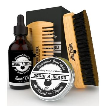 Beard Kit Multi-Functional Grooming Tool   Unique 6-in-1 Mustache & Facial Hair Care Set For Men   Natural Balm, Leave-In Oil, Boar Bristle Brush, Wood Comb, Trimming Scissors, Styling Shaper Template