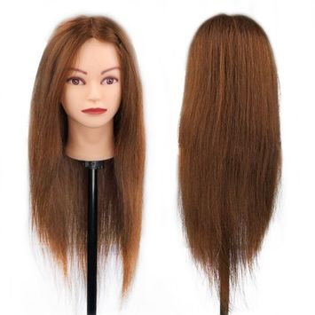 Hairdressing 100% Brown Professional Real Hair 26 Inch,CoastaCloud Training Mannequin Head Hairdresser Human Hair with Clamp