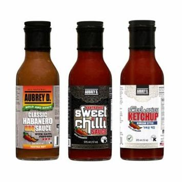 Aubrey D. Bold & Spicy Classic Habanero BBQ, XXXtra Hot Sweet Chilli,Sweet & Spicy Ketchup (Korean Style) Sauces x 3 bottles