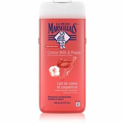 4 Pack - Le Petit Marseillais Extra Gentle Shower Crème Cotton Milk & Poppy Body Wash 21.9 oz