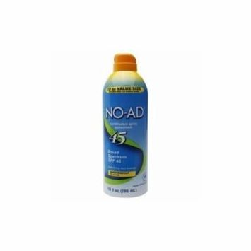 NO-AD Water Resistant Continuous Spray Sunscreen SPF 45 10oz Each