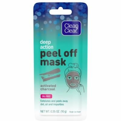 2 Pack - CLEAN & CLEAR Deep Action Cleansing & Exfoliating Peel Off Face Mask with Activated Charcoal Oil-Free, 1 Single