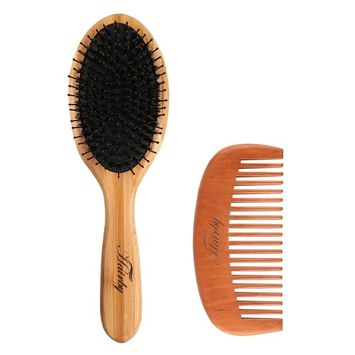 HAIRBY Oval Boar Bristle Brush with Wooden Handle for Straightening, Smoothing, Detangling, Daily Maintenance, Styling. for Men Women Girls,Hair Brush Set