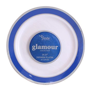 Party Bargains Glamour Collection, Premium Heavyweight Elegant China-like Plastic Plates, White with Blue/Silver Border Wedding, and Party Dinnerware (6 OZ BOWL) 10 pack