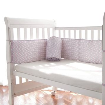 TillYou Baby Crib Bumper -Premium Woven Cotton, Padded Breathable Fill-in(Microfiber)- Pink Broken line