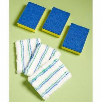 Tile Tub Shower Kitchen Bathroom Scrubber Set Interchangeable Scrubber or Microfiber Head Cleaner or Refills (Refill Set)