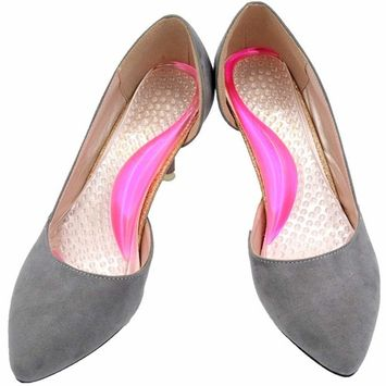 Arch Support Shoe Inserts for Women High Heels - Relief Pain from Plantar Fasciitis, Low Arch,Flat Feet [Size 8 or Less] [Pink]