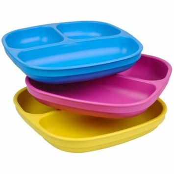 Re-Play Made in USA 3pk Toddler Feeding Divided Plates with Deep Sides for Easy Baby, Toddler, and Child Feeding - Sky Blue, Bright Pink & Yellow (Easter)