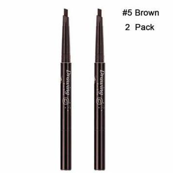 Magik 2 Pack Waterproof Eyebrow Pencil Retractable Slant Tip & Brush Double-ends Natural Hair-like Look (#5 Brown)