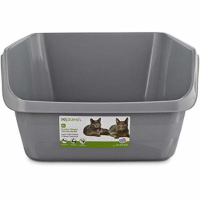 So Phresh Scatter Shield High-Back Litter Box in Gray