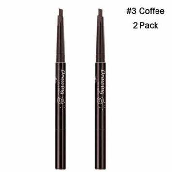 Magik 2 Pack Waterproof Eyebrow Pencil Retractable Slant Tip & Brush Double-ends Natural Hair-like Look (#3 Coffee)