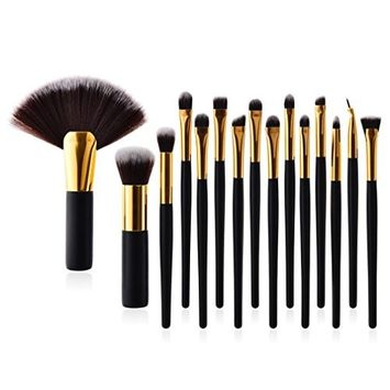 KaiCran 15Pcs Pro Makeup Brushes Set Foundation Powder Eyeshadow Eyeliner Lip Brush Tool Fan brushes