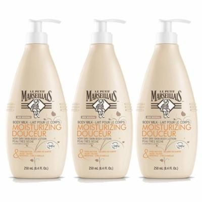 Le Petit Marseillais Shea Butter, Aloe & Beeswax Nourishing Body Milk Lotion, French Skin Care for Dry Skin Relief & pH Neutral for Skin, 8.4 fl. oz, 3 Pack