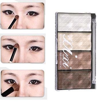 Hunputa Professional 4 Colors Makeup Natural Eyeshadow Palette with Brush