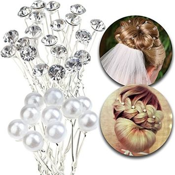 Hair Styling Hairstyling Set of 30pcs Hairdos Pins Hairpins Slides Bridal Brides Weddings Bridesmaids Decorations With Pearls Beads and Crystals Rhinestones Gems Jewels