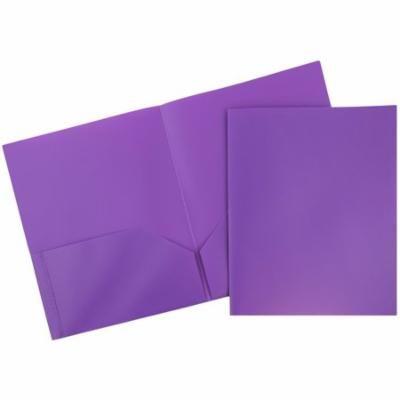 JAM PAPER Plastic 2 Pocket School POP Folders - Purple - 6/pack