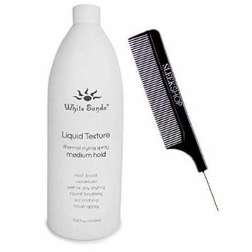 White Sands LIQUID TEXTURE, MEDIUM HOLD, Thermal Styling Spray, Root Boost Volumizer, Wet/Dry Styling, Round Brushing, Scrunching Finish Spray (Stylist Kit) (MED. HOLD, 33.8 oz/LITER LARGE REFILL)
