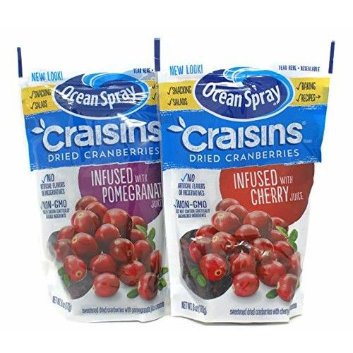 Variety Pack - Ocean Spray Craisins Dried Cranberries (6 Oz) - Infused with Cherry Juice, Infused with Pomegranate Juice