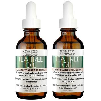 Advanced Clinicals Tea Tree Oil for Redness and Bumps. Tea tree oil For face, body, and feet. 1.8oz bottle - set of two.