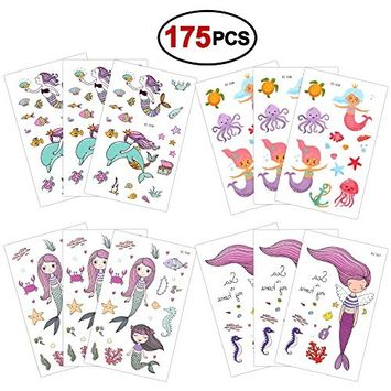 Temporary Tattoos for Kids(175pcs),Konsait Fake Mermaid Assorted Temporary Tattoos For Children Girls Birthday Party Favors Supplies Great Kids Party Accessories Goodie Bag Stuffers Party Fillers Gift