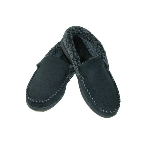 Dearfoams Men's Microsuede Moccasin Slippers with Memory Foam, Size: Small