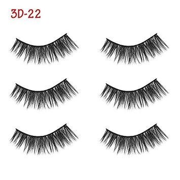 3 Pairs Soft Silk Fiber False Eyelashes Wispy Cross Long Lashes Extension Tools For Beauty Makeup (Pattern 1)