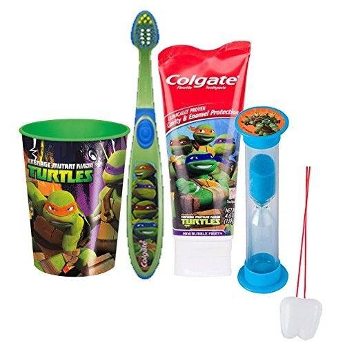 "Teenage Mutant Ninja Turtles 4pc Bright Smile Oral Hygiene Set! Toothbrush, Toothpaste, Brushing Timer & Mouthwash Rinse Cup! Plus ""Remember To Brush"" Visual Aid!"